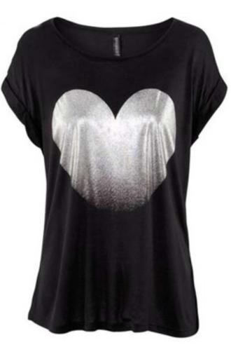 shirt heart silver black cute top