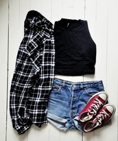top,black top,crop tops,black crop top,shirt,plaid shirt,black shirt,shorts,denim shorts,mini shorts,sneakers,converse,red sneakers,blouse
