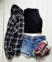 top,black top,crop tops,black crop top,shirt,plaid shirt,black shirt,shorts,denim shorts,mini shorts,sneakers,converse,red sneakers,blouse