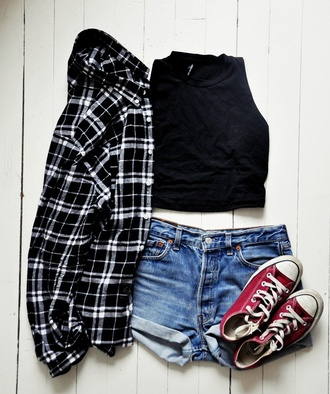 top black top crop tops black crop top shirt plaid shirt black shirt shorts denim shorts mini shorts sneakers converse red sneakers