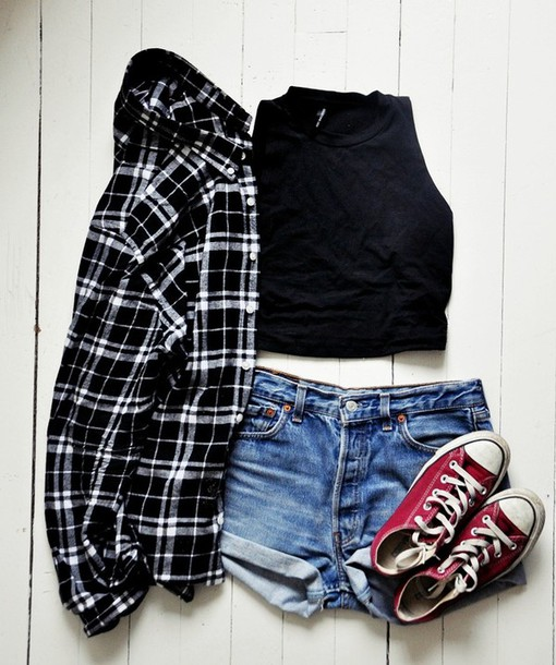 top black top crop tops black crop top shirt plaid shirt black shirt shorts denim shorts mini shorts sneakers converse red sneakers blouse