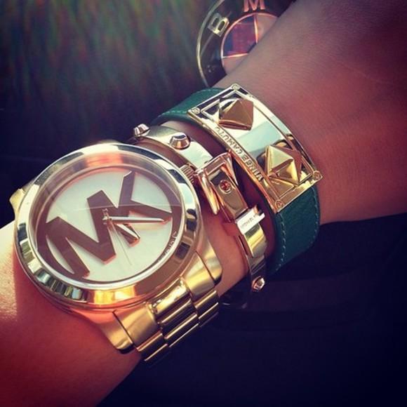 jewels bracelets gold#michaelkors#mk# fashion michael kors watch micheal kors gold bracelets emerald green bracelets