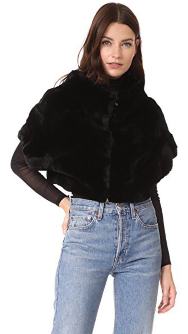 Adrienne Landau Rex Fur Little Zip Jacket in black