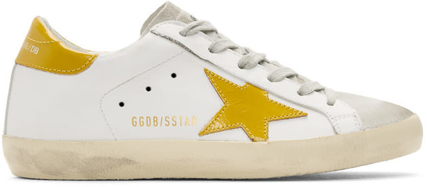 Golden goose sneakers white yellow shoes
