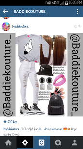 mickey mouse hands,dope,baddiekouture_,outfit idea,bag,jewels,crewneck,white ripped jeans,black hat,pink lipstick,earrings,nails,mcm bag,instagram