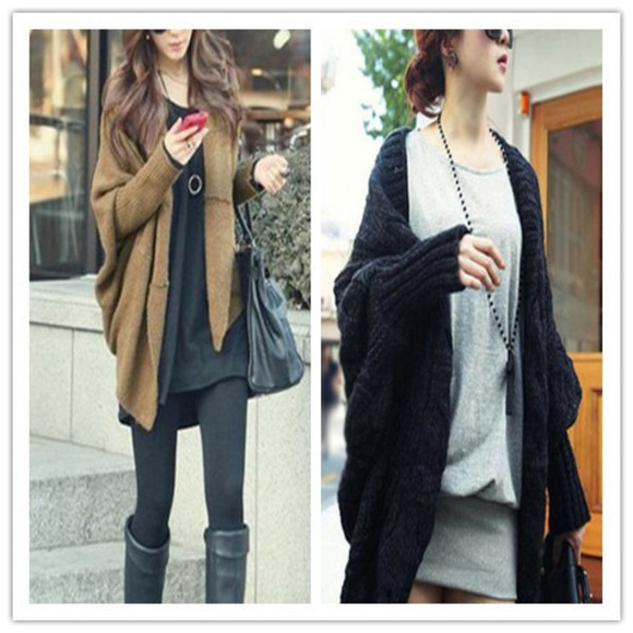 long sleeves cardigan vintage black brown loose fitting batwing cardigan irregular hem women