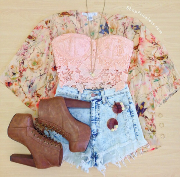 jacket cardigan floral spring bustier lace tank top shoes shorts platform high heels top crop tops festival bralette