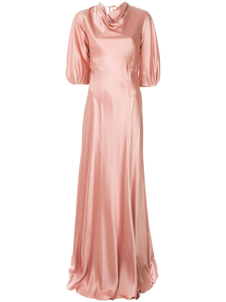 Alberta Ferretti gown women silk purple pink dress