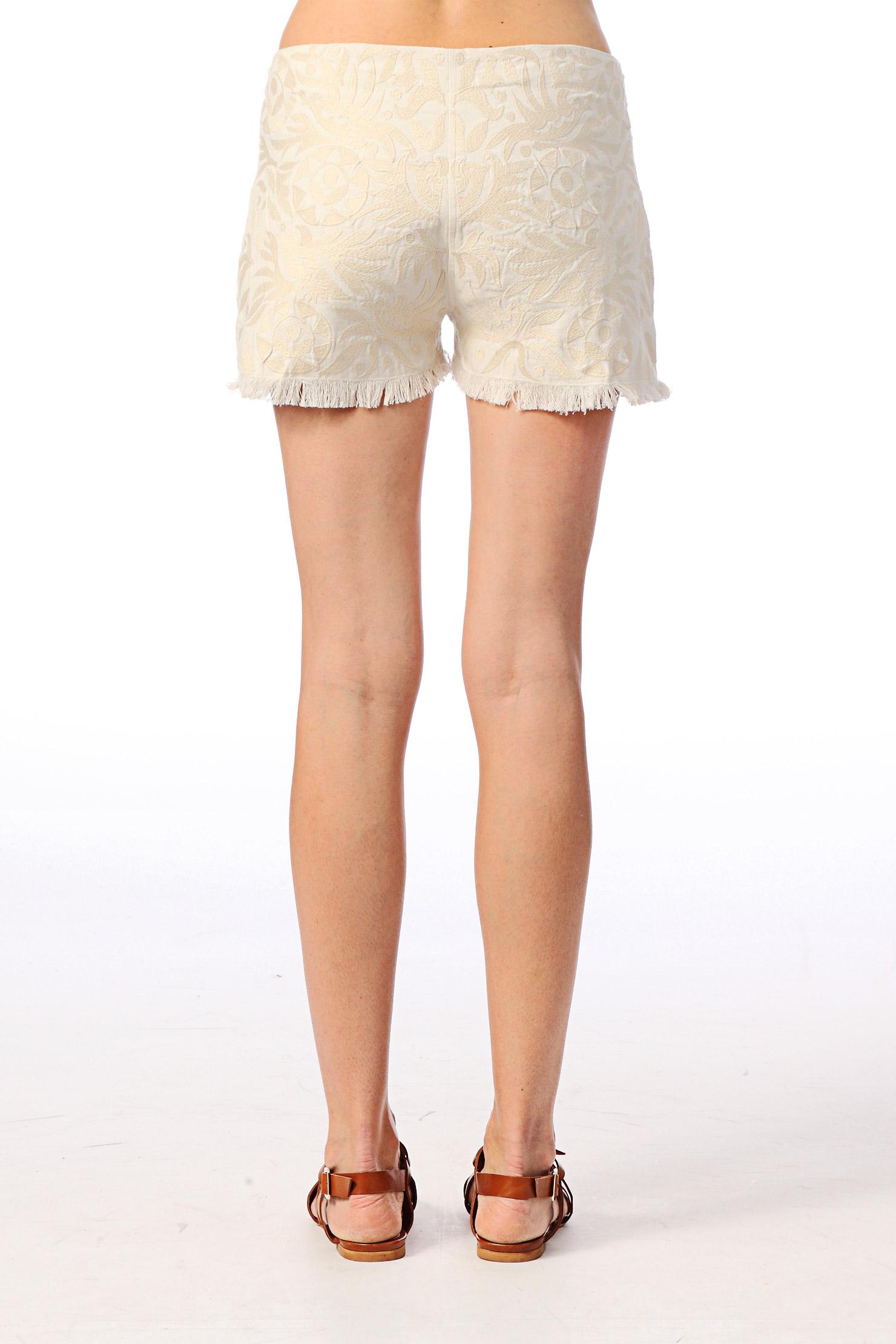 Short mini en coton brodé Orea