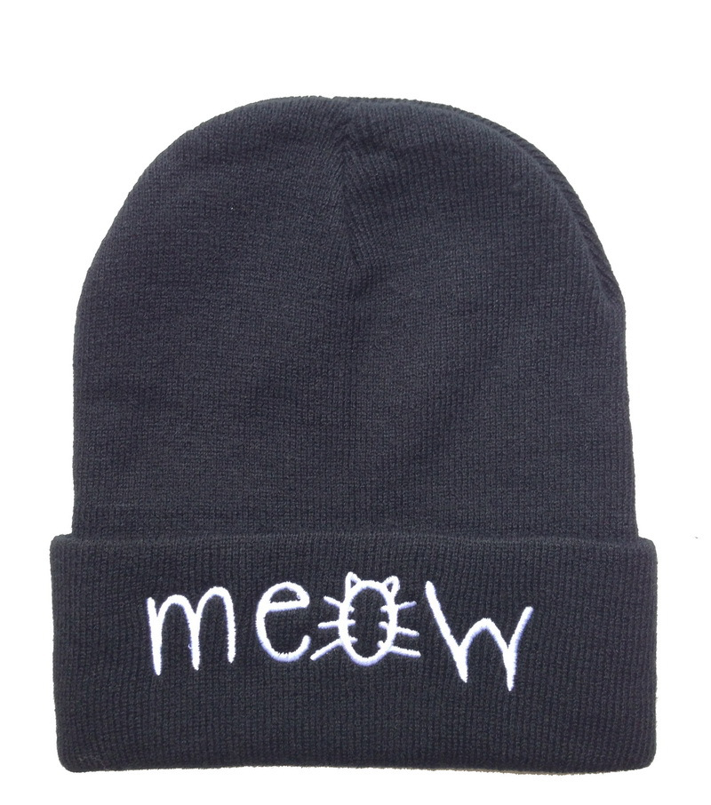 Aliexpress.com   Buy hot meow Beanies gorro hats Black grey solid high  quality mens or women winter wool skullies knitted most popular sports caps  from ... 97331b6f3bb