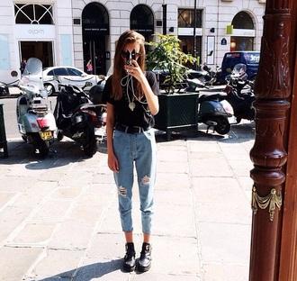 jeans boyfriend jeans ripped jeans blue skinny jeans 3/4 length