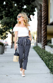 top,thehuntercollector,pants,blogger,jewels,bag,shoes,pumps,striped pants,white top,basket bag,summer outfits