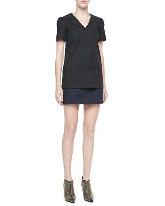 Theory Kaliste Short Sleeve Jersey Top & Keeta Stretch-Cotton Miniskirt, Black - Neiman Marcus