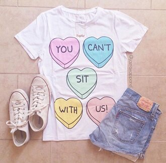 mean girls heart pastel t-shirt graphic tee funny t-shirt quote on it hipster vintage style girly girl boho grunge regina george white t-shirt white top instagram tumblr tumblr outfit school girl sexy neon cute classy indie cool trendy fashion summer winter outfits dope pretty swag swag top slogan tee you cant sit with us pink beach urban beautiful streetwear boho chic hot kawaii glitter streestyle love pale tumblr girl