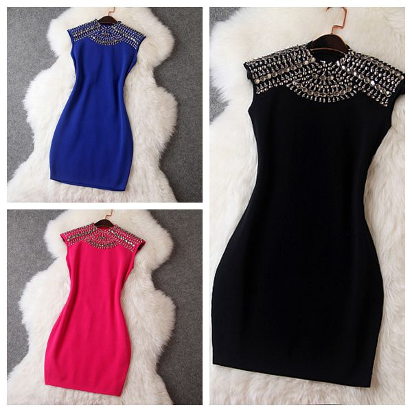 Fall 2014 New European American Women's Stitching Shoulder Early autumn Heavy Hand beaded sleeveless Slim package hip Sexy Dress-in Dresses from Apparel & Accessories on Aliexpress.com