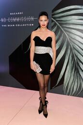 dress,mini dress,celebrity,adriana lima,model off-duty,strapless dress