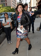 demi lovato,dress,leather jacket,clutch,boots,bag,shoes,jacket,eleven paris