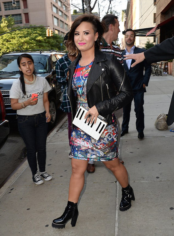 demi lovato dress leather jacket clutch boots bag shoes jacket eleven paris
