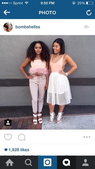 top pink girly white white top pink dress fringes fashion fringed bag