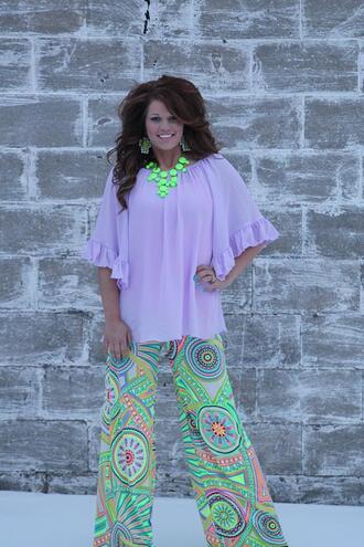 pants palazzo pants neon pants paisley lime green pants jewels