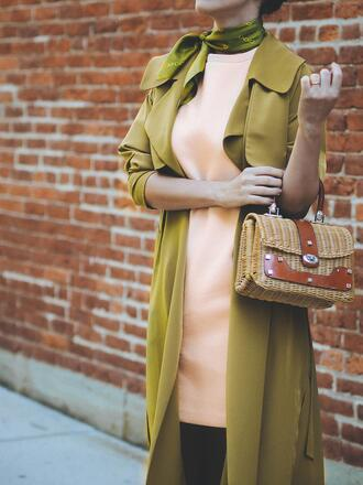 coat tumblr green coat scarf bag basket bag straw bag mini dress dress blush pink peach dress peach