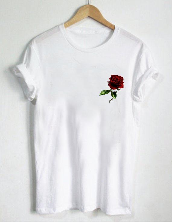 pocket rose T Shirt Size S,M,L,XL,2XL,3XL