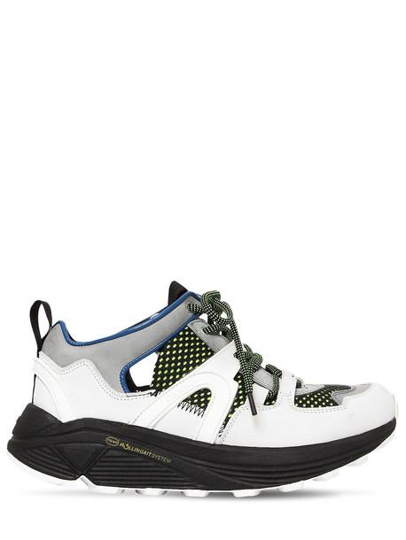 GANNI 30mm Brooklyn Low Suede & Mesh Sneakers in white / multi