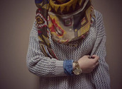 oversized,vintage,scarf,oversized sweater,printed scarf
