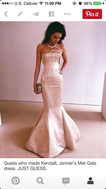 dress light pink dress mermaid prom dress strappless prom dress