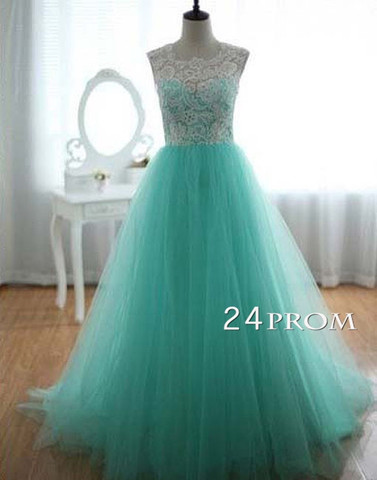 A-line Tulle and Lace round neckline Long Prom Dresses, Wedding - 24prom