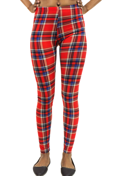 Red check plaid stretchy leggings