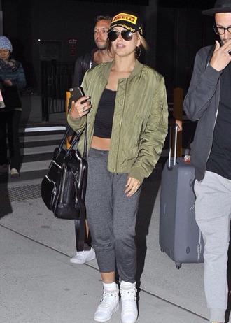 shoes top hat sneakers hailey baldwin pants sweatpants jacket bomber jacket