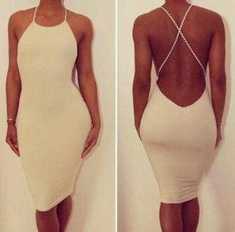 dress white backless midi
