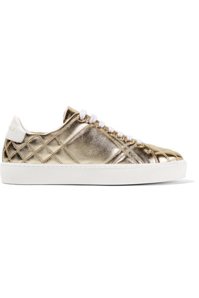 Burberry metallic quilted sneakers gold leather shoes