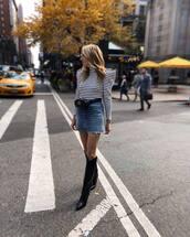 sweater,stripes,turtleneck,puffed sleeves,knee high boots,black boots,mini skirt,denim skirt,belt bag