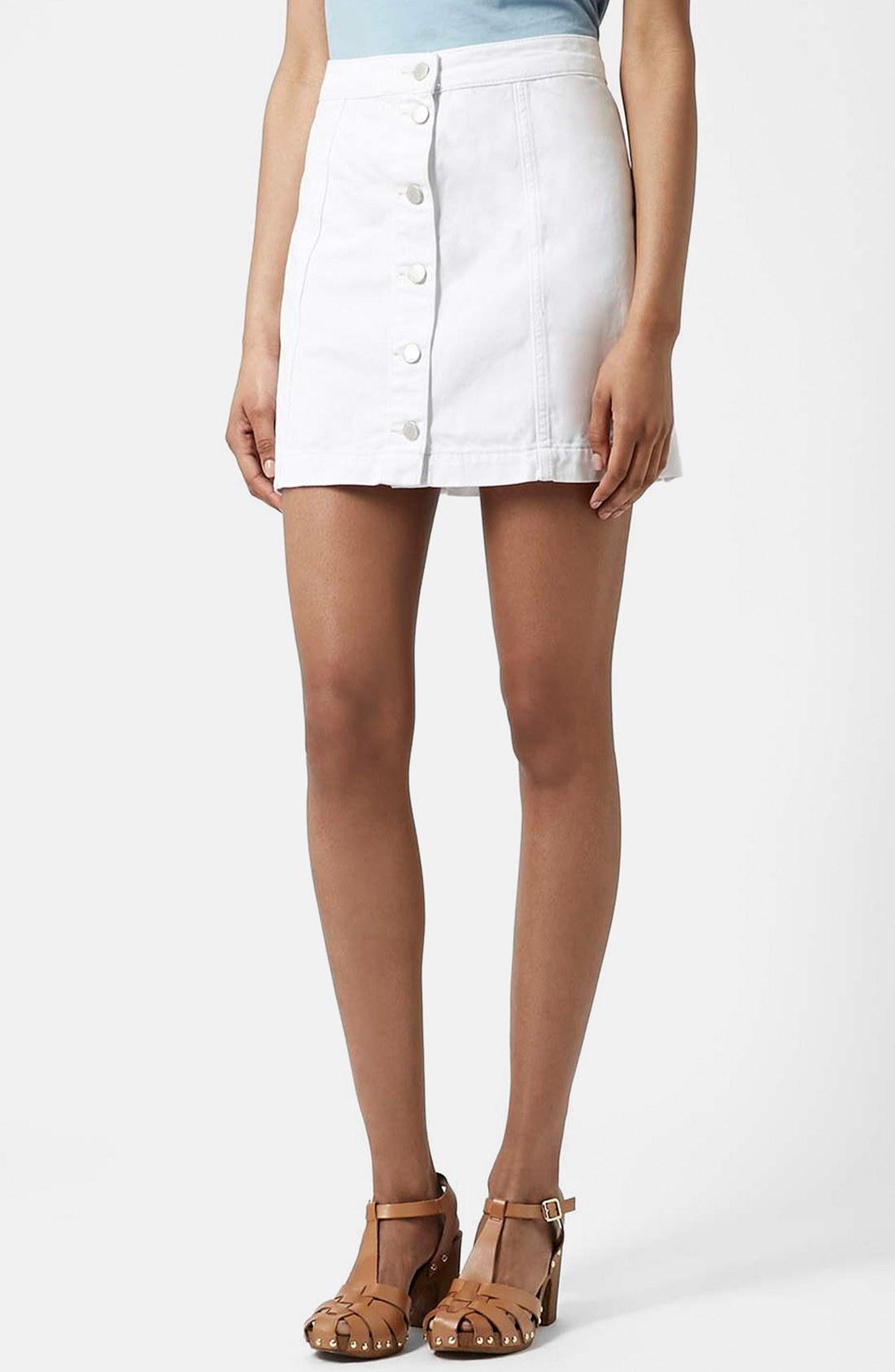Moto Button Front Denim Skirt | Nordstrom