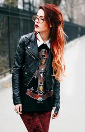 sweater,black,civil,leather jacket,cross,jacket,luanna perez,le happy,biker jacket,faux leather,grunge,lookbook,zaful,zip,back to school,rock,alternative,alternative rock,peter pan collar,grunge t-shirt,dope
