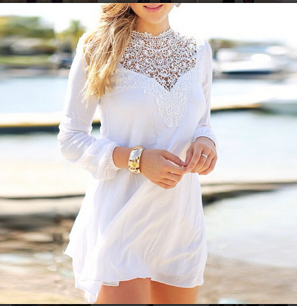 Aliexpress.com : buy new 2014 fall white female lace sleeve sexy bandage min dress top outfit om271 from reliable dress swimsuit suppliers on sexy dress 2014
