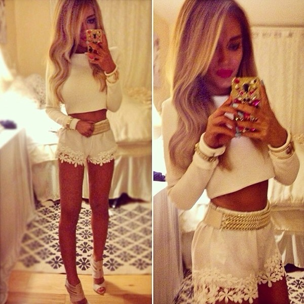 shorts white gold chain cute shorts nice lace floral shirt belt