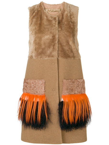 DROME jacket fur jacket sleeveless fur women brown