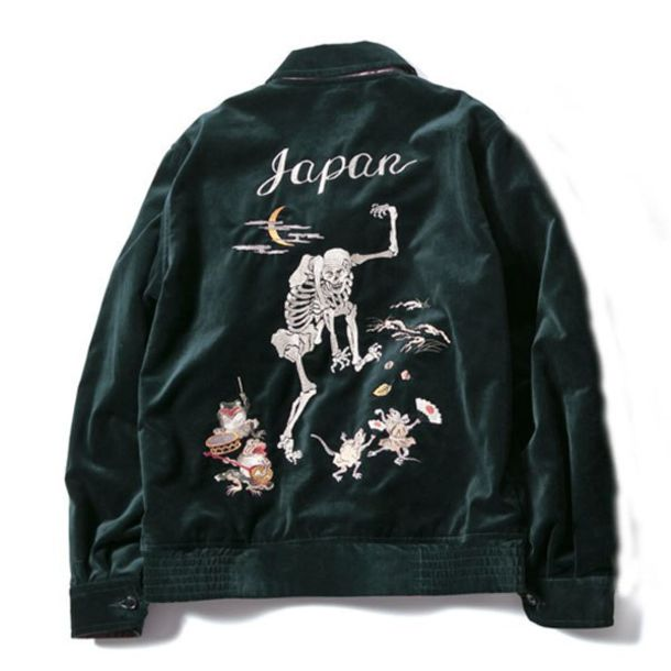 jacket japan skeleton velvet black black jacket flowers