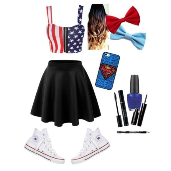 shirt american flag crop tops 4th of july skirt jewels