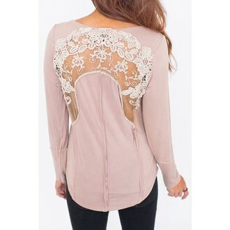 top lace pink long sleeves see through chic scoop neck long sleeve see-through appliques blouse for women fashion style trendy girly cute rose wholesale dec rose wholesale-dec