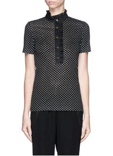 'lidia' ruffle collar polka dot polo shirt