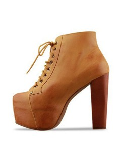 Brown lace up chunky heels ankle boots