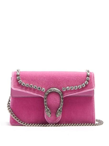 gucci cross mini bag velvet light pink light pink