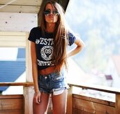 t-shirt,kirstine,ullebo,blogger,vintage,fashion,girl,skinny,amazing,sexy,cute,top,tank top,wow,shorts,shirt,crop tops,black,white,tumblr,blue,navy,denim shorts,west heigh tee,west height tee,university,west university,whu,long hair,brunette,tumblr style,sunglasses,distressed denim shorts,aviator sunglasses,pockets,summer,dark blue,white letters,belly,summertime,denim,sun,hair,long,blouse,jewels,marine,blue shirt,blue t-shirt,sunnies,cut off shorts,summer outfits,west,summerish,summer shorts,ripped shorts,cut offs,rayban,indie,hipster,style,west coast,blue top,Half Top,rolled sleeves,t-shirt with print,white print,love,blue ripped shorts,blue jeans,dark blue jeans,black and white,short sleeve,tees