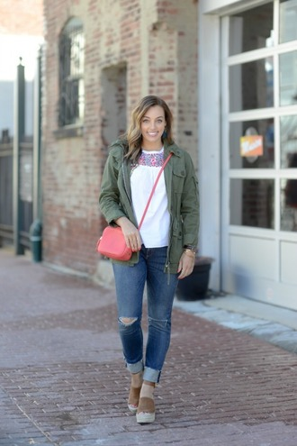 sharingmysole blogger jacket blouse jewels jeans shoes crossbody bag army green jacket wedge sandals spring outfits