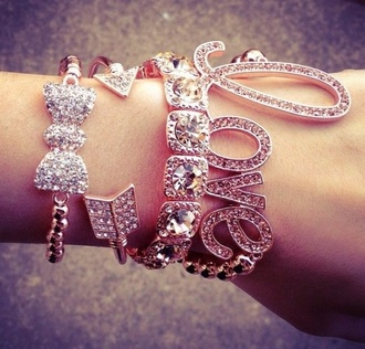 jewels jewelry bling crystal bracelets stacked bracelets bow rhinestones