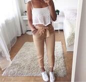 pants,beige,neutral,beige pants,crop tops,white crop tops,high waisted pants,nude,nude pants,white,shirt,white top,jumpsuit